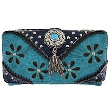 Western Style Tooled Leather Purse Country Handbag Women Shoulder Bag Wallet Set