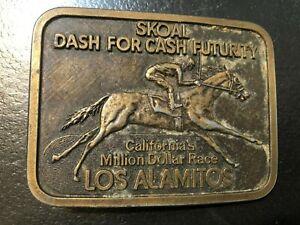 VINTAGE EMBOSSED SKOAL DASH FOR CASH FUTURITY LOS ALAMITOS BELT BUCKLE