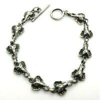 """Fine Elephants Toggle Sterling Silver 925 Bracelet 11g 7"""" KOI458"""
