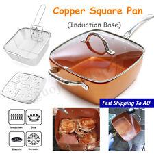 4Pcs Nonstick Copper Square Pan Induction Chef Glass Lid UK G