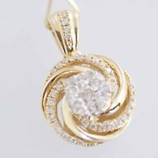 "Brand New 14k Solid Yellow Gold Designer .5ct Diamond Necklace w/ 14k 18"" chain"