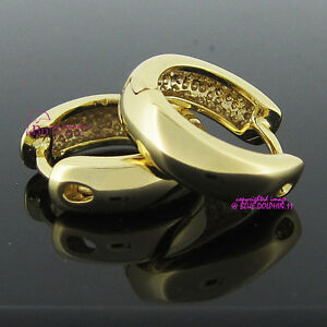 Real Women Girl Solid 14K Yellow Gold GF Engagement Wedding Huggies Hoop Earring