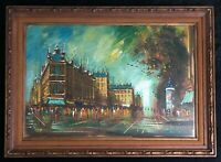 LEE REYNOLDS SIGNED OIL PAINTING MID-CENTURY ABSTRACT EXPRESSIONISM CITYSCAPE