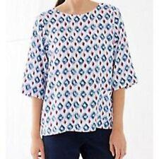 NEW J JILL Ikat Print Tencel  Easy Fit Shirt  Blue Raspberry  L
