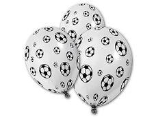 5 ballons en latex, blancs imprimés de ballons de football noirs.