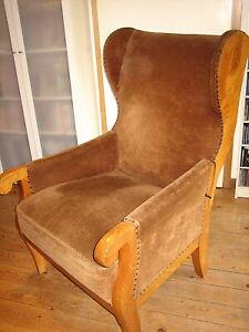 Biedermeier Ohrenbacken Sessel mit Liegefunktion Rücklehne verstellbar Esche