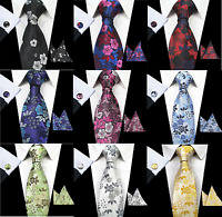 Hand Made Premium Woven Flower Jacquard Silk Tie Gift Wedding Event UK