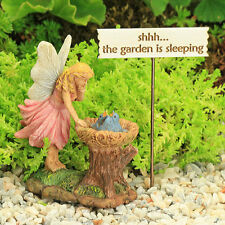 Fairy ~Blue Bird Nest ~ Shhh.. Garden Sleeping Sign ~ Fairy Garden ~ Miniature