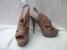 """OFFICE UK 6 / 39 Beige & Grey leather slingback platform shoes 5"""" heel VGC"""