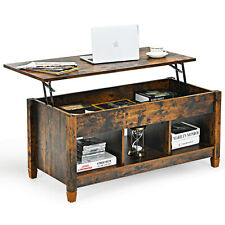 Costway Lift Top Coffee Table w/ Hidden Compartment and Storage Shelves Coffee