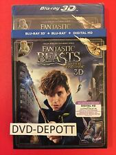 FANTASTIC BEASTS AND WHERE TO FIND THEM BLU RAY 3D /BLU RAY /HD & Slipcover NEW!