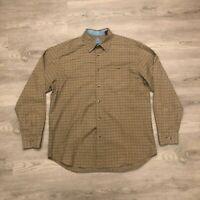 Bob Timberlake Mens Brown Checkered Button Shirt Plaid Flannel Cotton Size Large