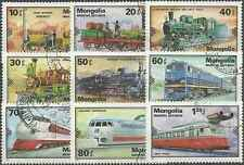 Timbres Trains Mongolie 1027/35 o lot 10765
