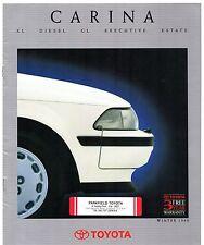 Toyota Carina 1990-91 UK Market Sales Brochure Executive GL XL Diesel