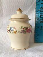 """Vtg Sadler England 4"""" Tea Caddy Ginger Jar & Lid Floral Blue Yellow Pink W/ Gold"""