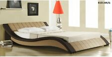 ITALIAN DESIGN QUEEN SIZE dark brown & honey PU LEATHER BED FRAME 3color options