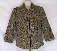 Joseph Ribkoff Womens Geometric Jacket Blazer Size 8 Zip Front 3/4 Sleeve CB95G