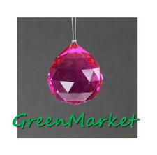 12 Pack 40mm Hanging Feng Shui Pendant Beads Glass Crystal ball-Hot Pink