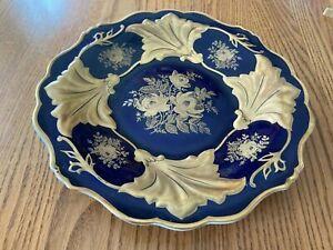 "Weimar ""Jutta"" Gilt Porcelain Charger Tray Kobalt Blue & Gold"