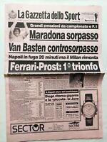 GAZZETTA DELLO SPORT 26-3-1990 NAPOLI-JUVENTUS 3-1 DOPPIETTA MARADONA PROST