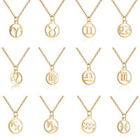 Fashion Stainless Steel Gold 12 Constellation Pendant Necklace Chain Jewelry