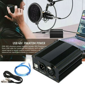 Pro Channel 48V Phantom Power Supply w/ Cable XLR USB Cable Microphone Cable