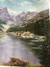 """""""Flat Top Mountain """" Original Giclee On Canvas By Jean Bartlet COA Lt Ed Signed"""