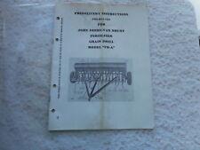 Vtg John Deere Dealer Fertilizer Grain Drill Predelivery Manual Fb - A