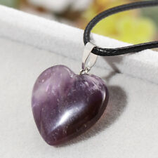 Amethyst Quartz Tiger Eye Natural Stone Heart Pendants Necklace Choker Jewelry