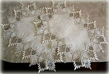 SET of TWO Doilies Placemats or Dresser Scarf  FEATHER LACE Neutral Earth Tone