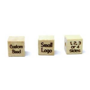 8mm x 8mm Light Wood Square Cube Bead - Custom Engraved or Personalized