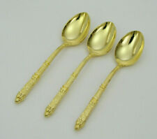 "(3) GOLD TONE PLATED 4"" DEMITASSE SPOONS - VERY NICE AND SHINY CONDITION"