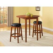 Essential Home 3-Piece Oak Finish Dual Side Drop-Leaf Dining Set Table 2 Chairs