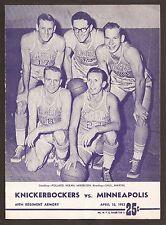 April 10 1953 NBA Championship Finals Gm 5 Program Lakers/Mikan beat Knicks 4-1!