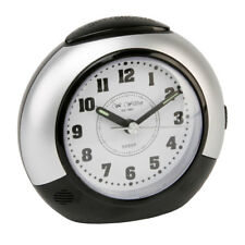 Black Silver Bedroom Alarm Clock Silent Sweep No Ticking Snooze Light White Dial
