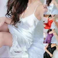 Women Nightgown Dress Sexy Lingerie Babydoll Lace Sleepwear Robe Silk Nightdress