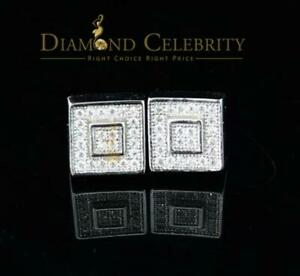 10K  White Gold Finish Silver Lab Created Diamond Square Earring