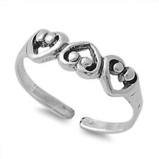 925 Jewelry Face Height 4 mm Heart Adjustable Toe Ring Solid Sterling Silver