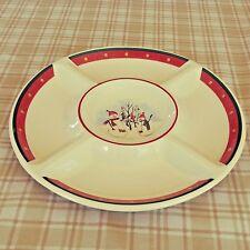 "Royal Seasons Snowman Stoneware Five Section Divided 14.5"" Serving Platter"