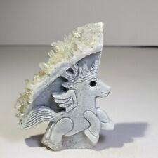 Natural crystal, quartz cluster, mineral specimen, hand carved, unicorn