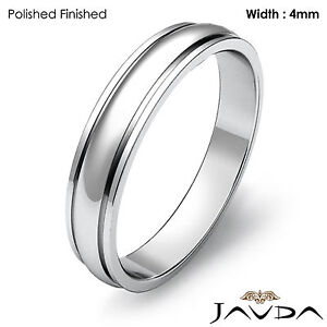 Wedding Band Women Solid Platinum 950 Dome Step Plain Ring 4mm 5.5gm Sz 7 - 7.75