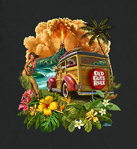 "OLD GUYS RULE"" HULA WOODIE"" Surf Tabla de Longboard Aleta Playa Pocket-T Talla"