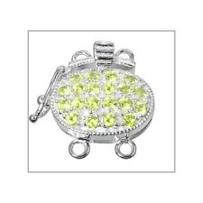Fine Sterling Silver 2 Strands Oval Box Clasp with Secure Lock Lime CZ #51590