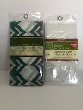 HOME COLLECTION SHEER VINYL SHOWER CURTAIN~TEAL/GREY/WHITE With Clear Backing