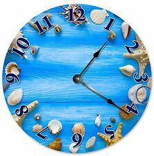 "SEASHELLS In A CIRCLE Clock - Large 10.5"" Wall Clock - 2058"