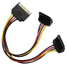 15cm 90 degree SATA 15-Pin Male to 2 x 15P Female Y Splitter Adapter Power cord