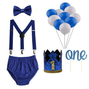 Baby Boys Cake Smash Outfit First Birthday Bloomers Bowtie Suspenders Bloomers