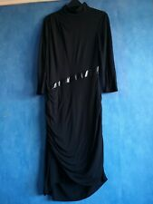 Karen Millen Black High Button Neck Lined Modal Jersey Dress Size 12