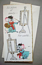 Mouse mice painting picture of health unused vintage greeting card  *1M