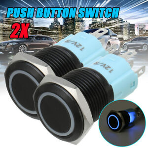 2X 12mm 5 Pin Car Boat LED Push Button Momentary Switch ON/OFF Waterproof 12V AU
